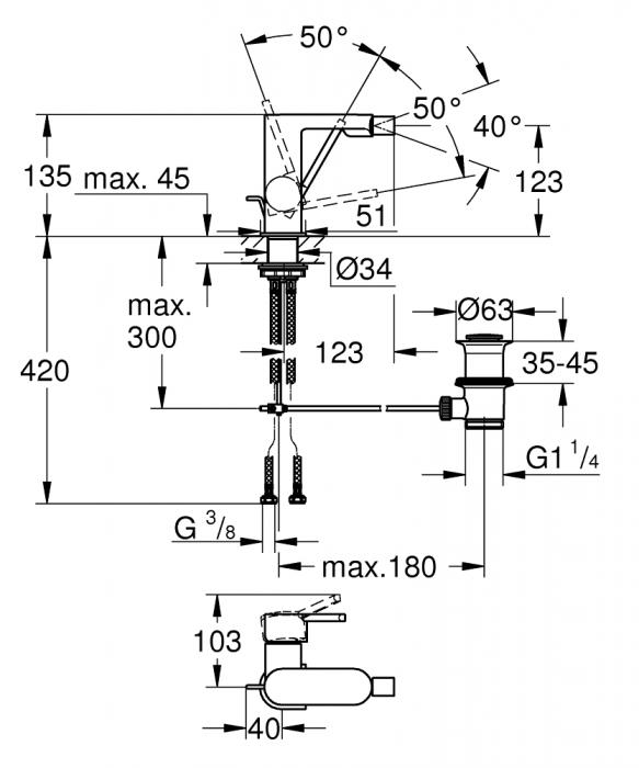 Baterie bideu Grohe Plus cu ventil pop-up [1]