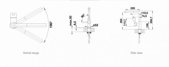 Baterie Blanco LANORA-S cu dus detasabil, inox periat [5]