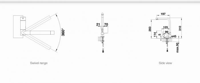 Baterie Blanco LARESSA F maneta stanga montaj in fata ferestrei [3]