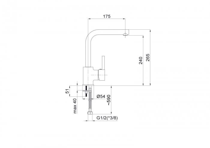 Baterie bucatarie Rubineta ULTRA 35 finisaj cromat U35108 [2]
