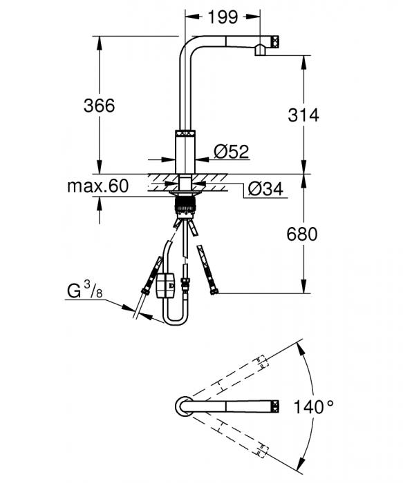 Baterie chiuveta Grohe MINTA Smartcontrol cu dus retractabil [3]