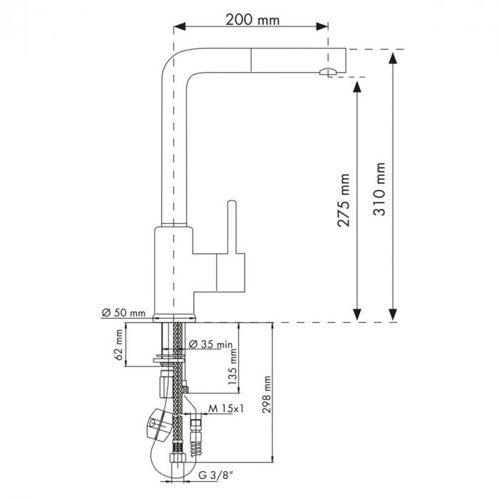 Baterie CookingAid Arizona cu furtun dus retractabil / cap extractibil si finisaj granit Alb Galbui / Jasmine 1