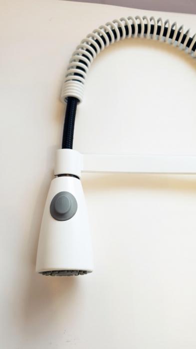 Baterie CookingAid FRANCE WHITE cu cap flexibil detasabil + buton interschimbabil jet/dus si finisaj alb mat antiamprenta [4]