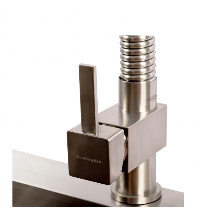 Baterie CookingAid Spring SQUARE cu furtun dus retractabil / extractibil si cap LED termostat 12