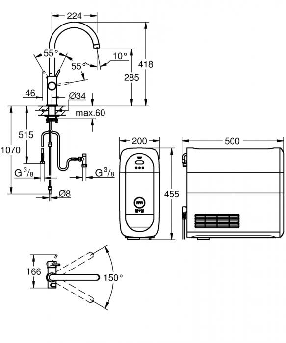 Baterie cu sistem GROHE Blue Home cu funcție de filtrare, racire si apa carbogazoasa 2