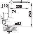 Baterie de bucatarie inox BLANCO Mila-S cu dus extensibil 4