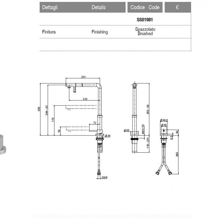 Baterie Inox periat ArtInox GALILEO telescopica / corp retractabil si dus extractibil [6]