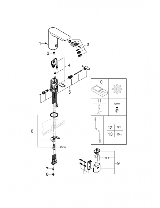 Baterie lavoar cu senzor Grohe Bau Cosmo E, cu mixare si regulator temperatura [9]