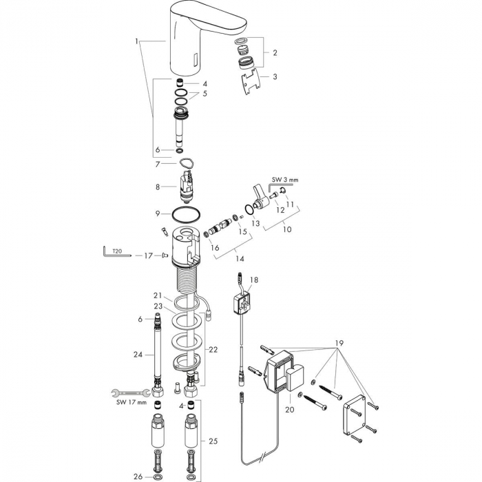 Baterie lavoar cu senzor Hansgrohe Focus 130 cu acumulator si reglaj temperatura [2]