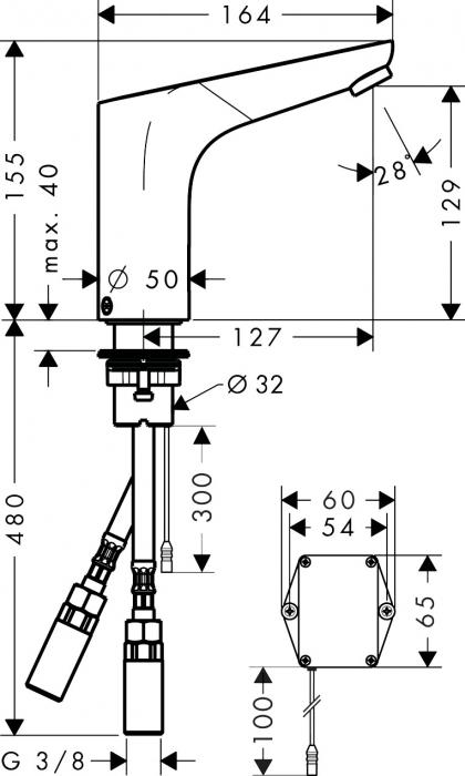 Baterie lavoar cu senzor Hansgrohe Focus cu acumulator si temperatura pre-reglabila31172000 [2]