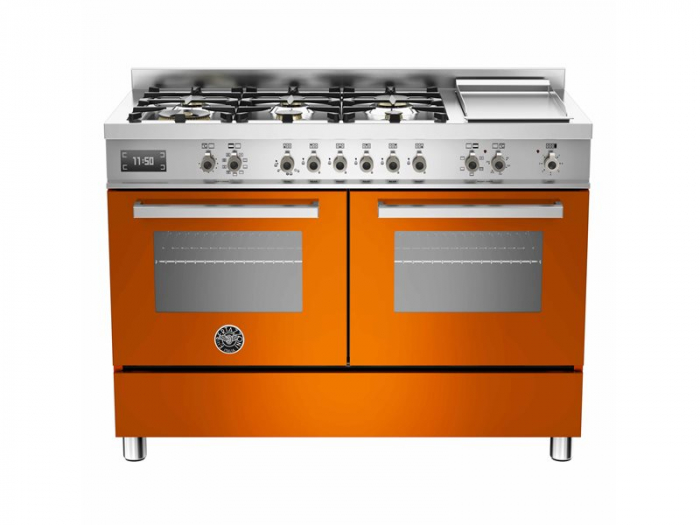 Bertazzoni Aragaz 120x60 cm cuptor electric dublu, 6 arzatoare+ plita, Portocaliu design Professional [0]