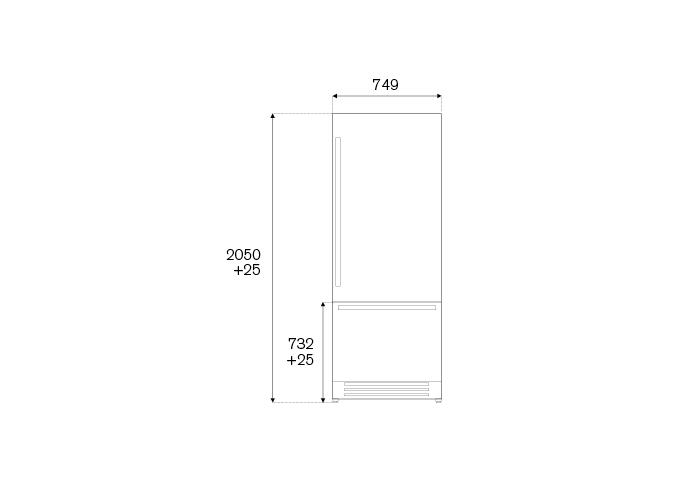 Bertazzoni Combina frigorifica incorporabila 75 cm Inox design Neutral, deschidere dreapta [1]