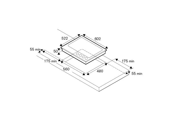 Bertazzoni Plita gaz 60 cm, 4 arzatoare Inox design Professional [1]