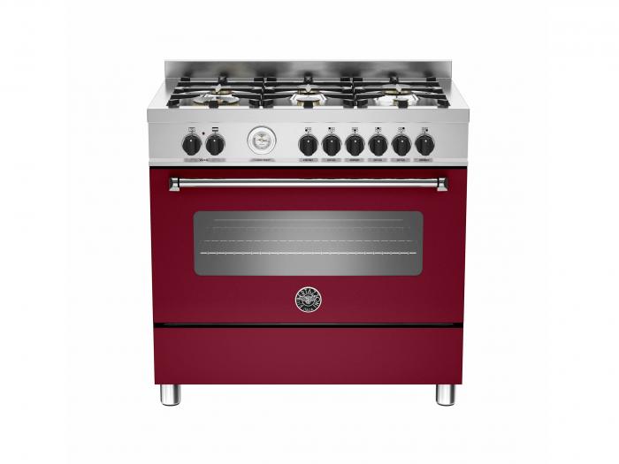 Bertazzoni Aragaz 90x60 cm Premium 6 arzatoare, burgund mat design Master [0]
