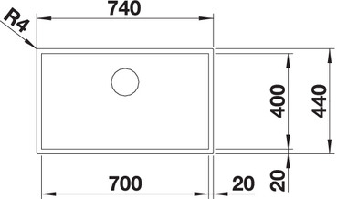 Blanco ZEROX 700-U Durinox® Chiuveta bucatarie Durinox® cu montaj sub blat [4]