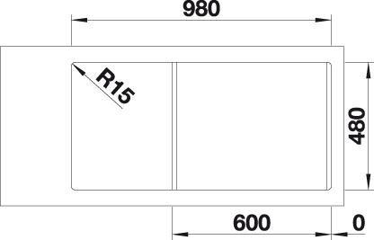 Chiuveta BLANCO CLASSIMO 6 S-IF reversibila cu excentric, inox periat [1]