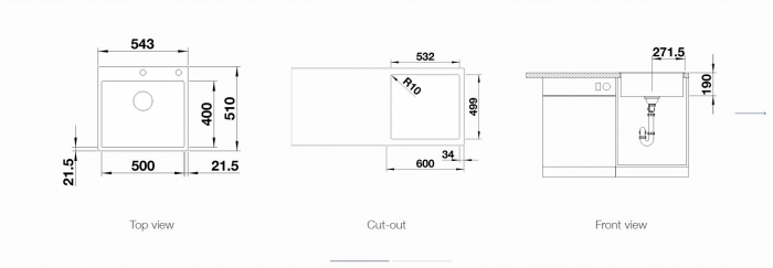 Chiuveta BLANCO subline 500-IF/A SteelFrame silgranit puradur fara excentric [1]