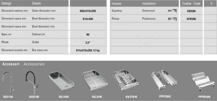 Chiuveta bucatarie  Artinox Aqua Smart 86 860x510 montaj pesau la nivelul blatului 2
