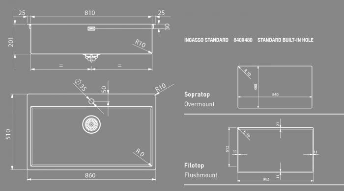 Chiuveta bucatarie  Artinox Aqua Smart 86 860x510 montaj pesau la nivelul blatului 3