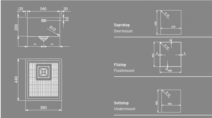 Chiuveta bucatarie ArtInox Dama 34 din inox AISI304 finisate manual [2]