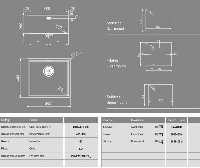 Chiuveta bucatarie ArtInox Smart 45 ,49x44 cm, grosime inox 1 mm [1]
