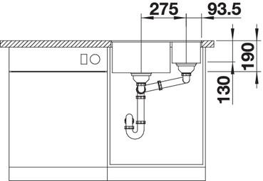 Chiuveta bucatarie BLANCO SUBLINE 340/160-U Silgranit, InFino™ integrat 4
