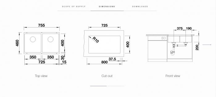 Chiuveta bucatarie BLANCO SUBLINE 350/350-U Silgranit, InFino™ [2]