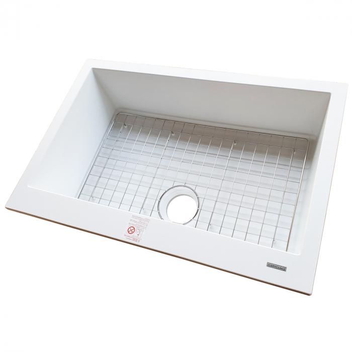Chiuveta bucatarie granit CookingAid Cube ON7610 Alba / Polar White cu montaj sub blat + accesorii instalare [4]