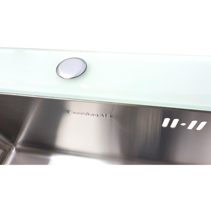 Chiuveta bucatarie inox CookingAid TEMPERED GLASS WHITE cu dozator detergent + accesorii montaj [2]