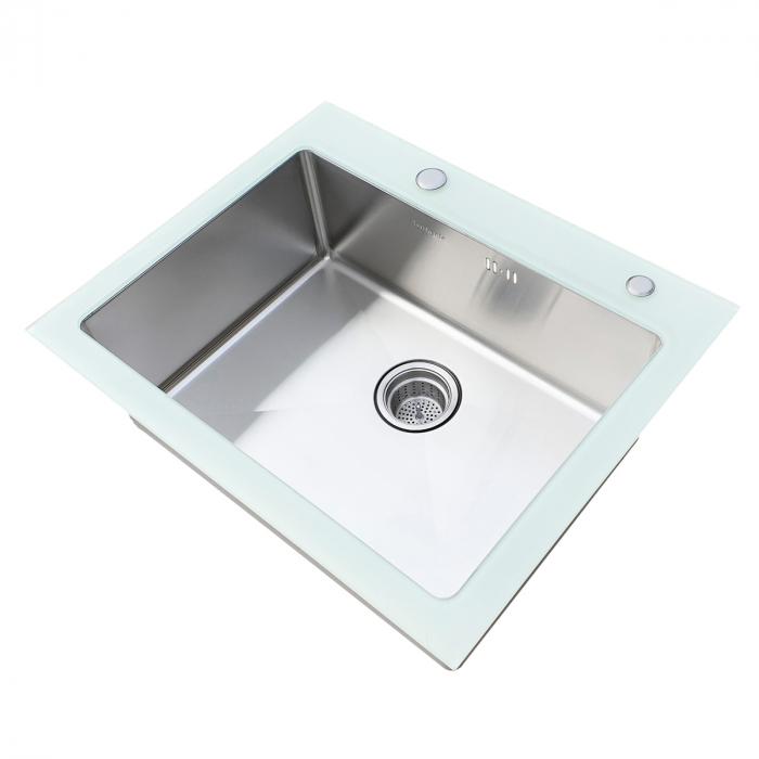 Chiuveta bucatarie inox CookingAid TEMPERED GLASS WHITE cu dozator detergent + accesorii montaj [4]
