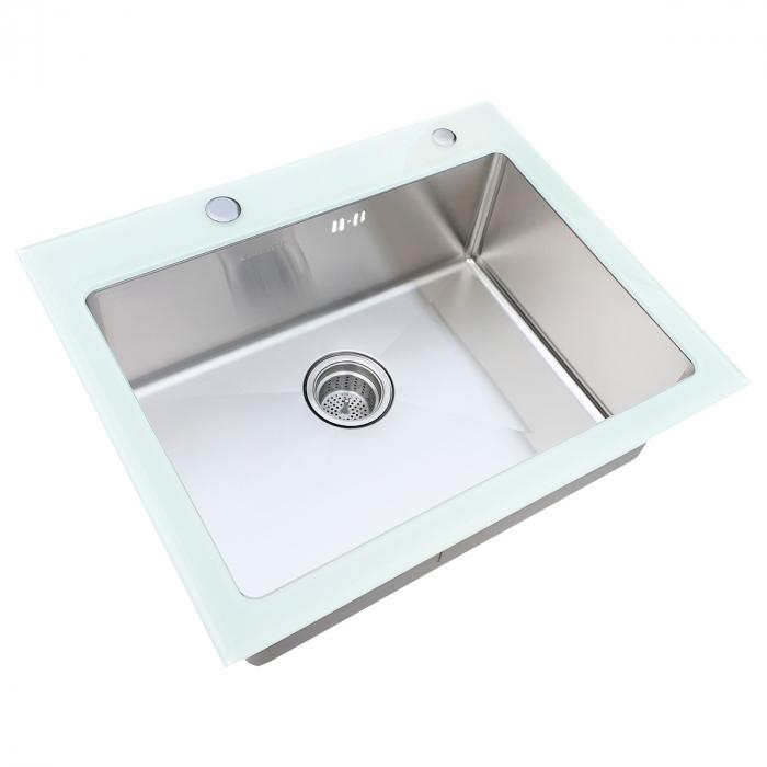 Chiuveta bucatarie inox CookingAid TEMPERED GLASS WHITE cu dozator detergent + accesorii montaj [5]