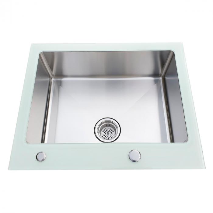 Chiuveta bucatarie inox CookingAid TEMPERED GLASS WHITE cu dozator detergent + accesorii montaj [6]