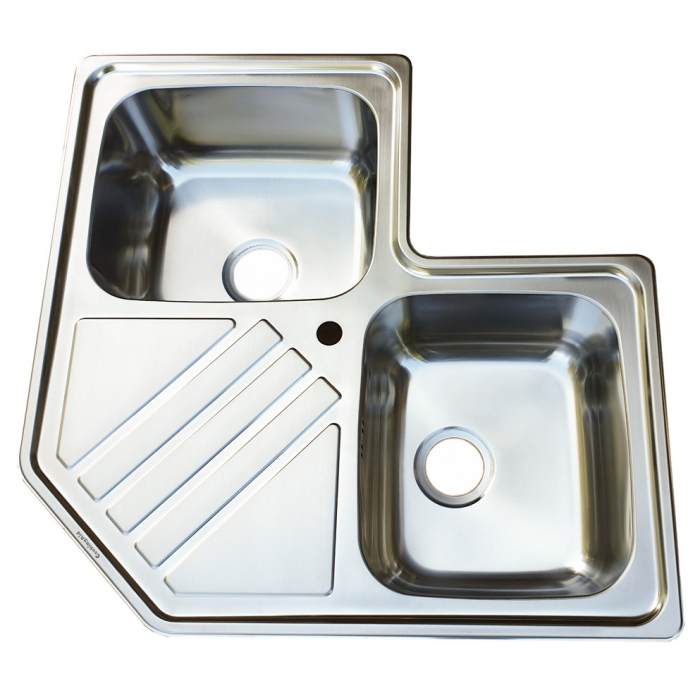 Chiuveta bucatarie cu 2 cuve inox dubla CookingAid KEPPLER BB pe colt reversibila stanga/dreapta cu picurator + accesorii montaj 5