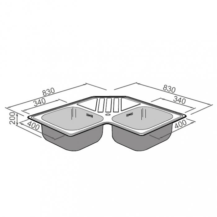 Chiuveta bucatarie cu 2 cuve inox dubla CookingAid KEPPLER BB pe colt reversibila stanga/dreapta cu picurator + accesorii montaj 9