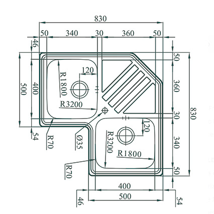 Chiuveta bucatarie cu 2 cuve inox dubla CookingAid KEPPLER BB pe colt reversibila stanga/dreapta cu picurator + accesorii montaj 10