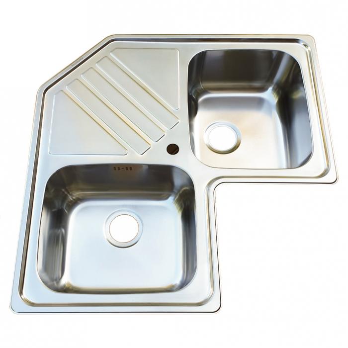 Chiuveta bucatarie cu 2 cuve inox dubla CookingAid KEPPLER BB pe colt reversibila stanga/dreapta cu picurator + accesorii montaj 3
