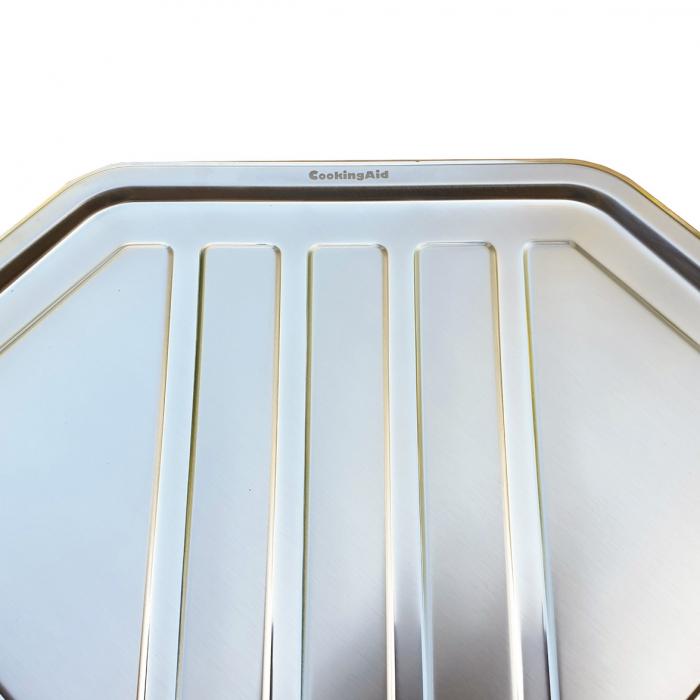 Chiuveta bucatarie cu 2 cuve inox dubla CookingAid KEPPLER BB pe colt reversibila stanga/dreapta cu picurator + accesorii montaj 7