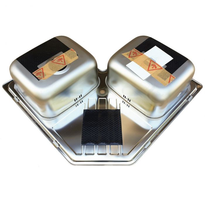 Chiuveta bucatarie cu 2 cuve inox dubla CookingAid KEPPLER BB pe colt reversibila stanga/dreapta cu picurator + accesorii montaj 8