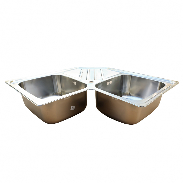 Chiuveta bucatarie cu 2 cuve inox dubla CookingAid KEPPLER BB pe colt reversibila stanga/dreapta cu picurator + accesorii montaj 1