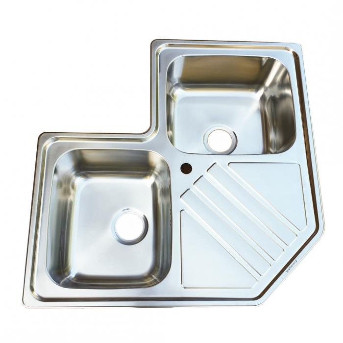 Chiuveta bucatarie cu 2 cuve inox dubla CookingAid KEPPLER BB pe colt reversibila stanga/dreapta cu picurator + accesorii montaj 4