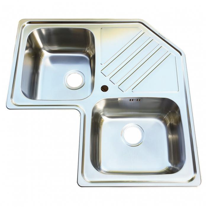 Chiuveta bucatarie cu 2 cuve inox dubla CookingAid KEPPLER BB pe colt reversibila stanga/dreapta cu picurator + accesorii montaj 2
