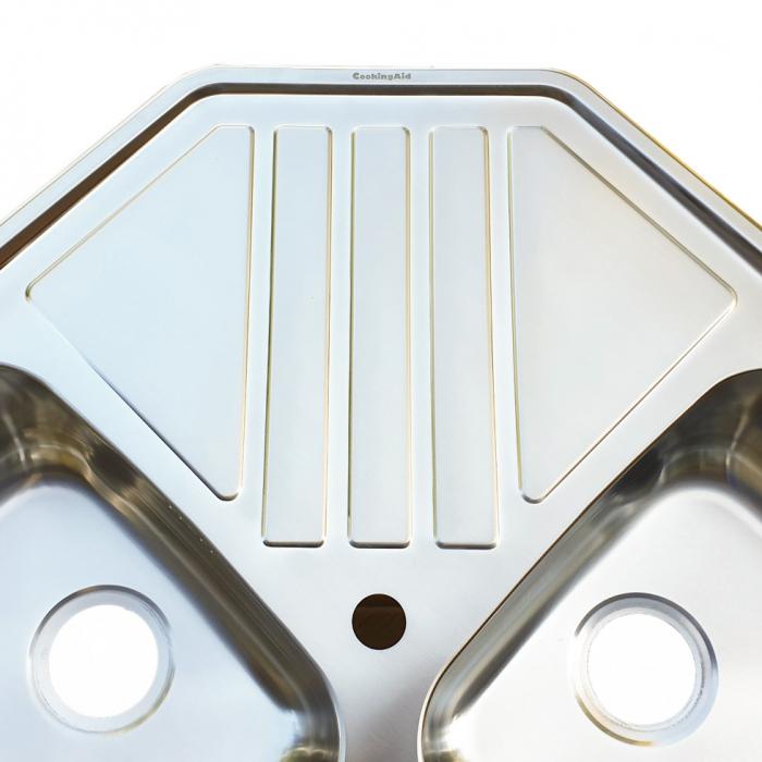 Chiuveta bucatarie cu 2 cuve inox dubla CookingAid KEPPLER BB pe colt reversibila stanga/dreapta cu picurator + accesorii montaj 6