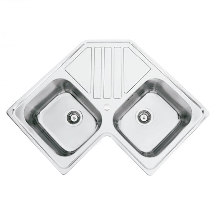 Chiuveta bucatarie cu 2 cuve inox dubla CookingAid KEPPLER BB pe colt reversibila stanga/dreapta cu picurator + accesorii montaj 0