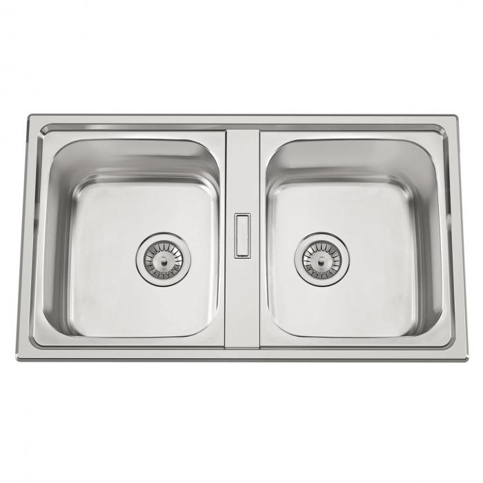 Chiuveta bucatarie cu 2 cuve inox dubla CookingAid URBAN 86BB reversibila stanga/dreapta + accesorii montaj 0