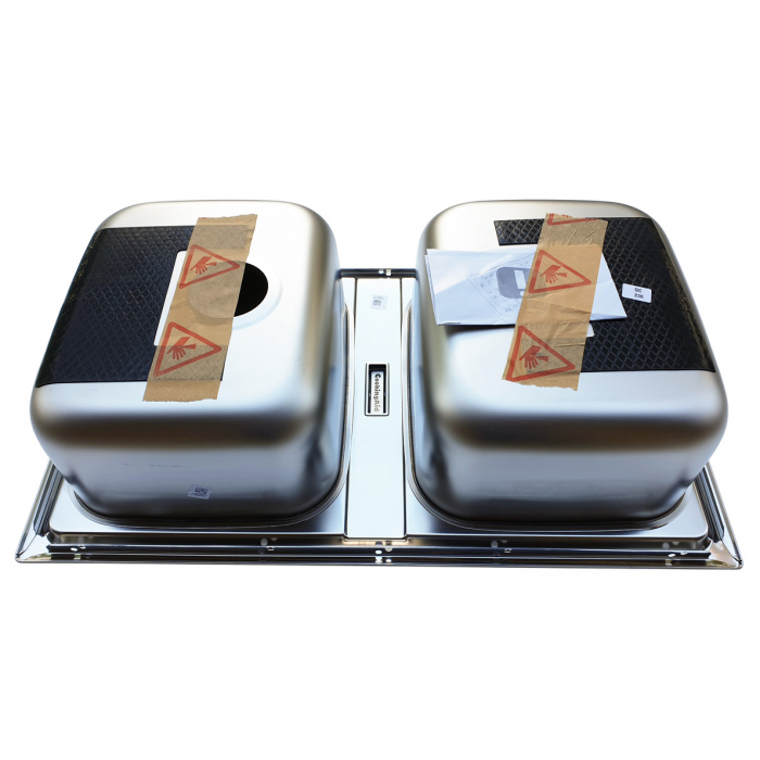 Chiuveta bucatarie cu 2 cuve inox dubla CookingAid URBAN 86BB reversibila stanga/dreapta + accesorii montaj 5