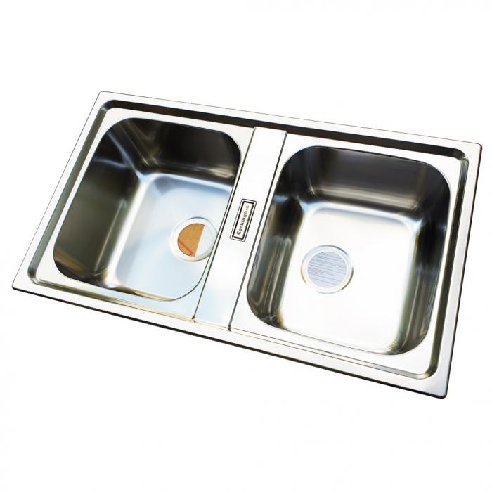 Chiuveta bucatarie cu 2 cuve inox dubla CookingAid URBAN 86BB reversibila stanga/dreapta + accesorii montaj 1