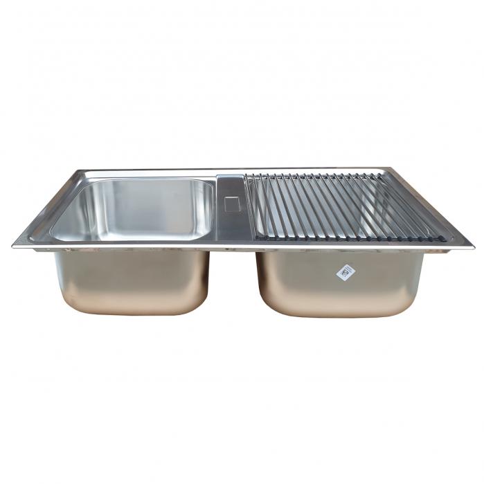 Chiuveta bucatarie cu 2 cuve inox dubla CookingAid URBAN 86BB reversibila stanga/dreapta + accesorii montaj 4