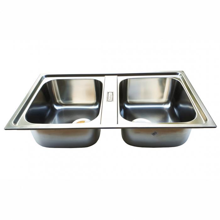 Chiuveta bucatarie cu 2 cuve inox dubla CookingAid URBAN 86BB reversibila stanga/dreapta + accesorii montaj 3