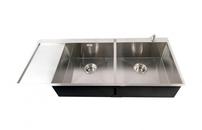 Chiuveta bucatarie dubla inox cu 2 cuve CookingAid ULTIMATE DUO XL cu dozator detergent, scurgator vase/paste/fructe, gratar rulabil inox + accesorii montaj 8