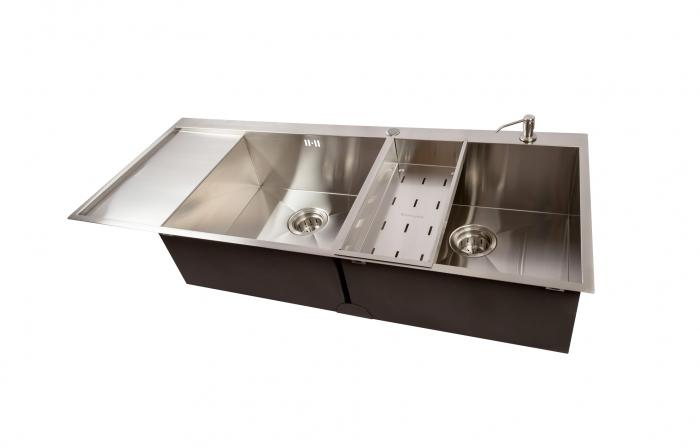 Chiuveta bucatarie dubla inox cu 2 cuve CookingAid ULTIMATE DUO XL cu dozator detergent, scurgator vase/paste/fructe, gratar rulabil inox + accesorii montaj 4